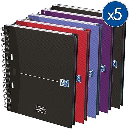 Oxford Essentials - Pack de 5 cuadernos en espiral doble, tapa extradura, A5: Amazon.es: Oficina y papelería
