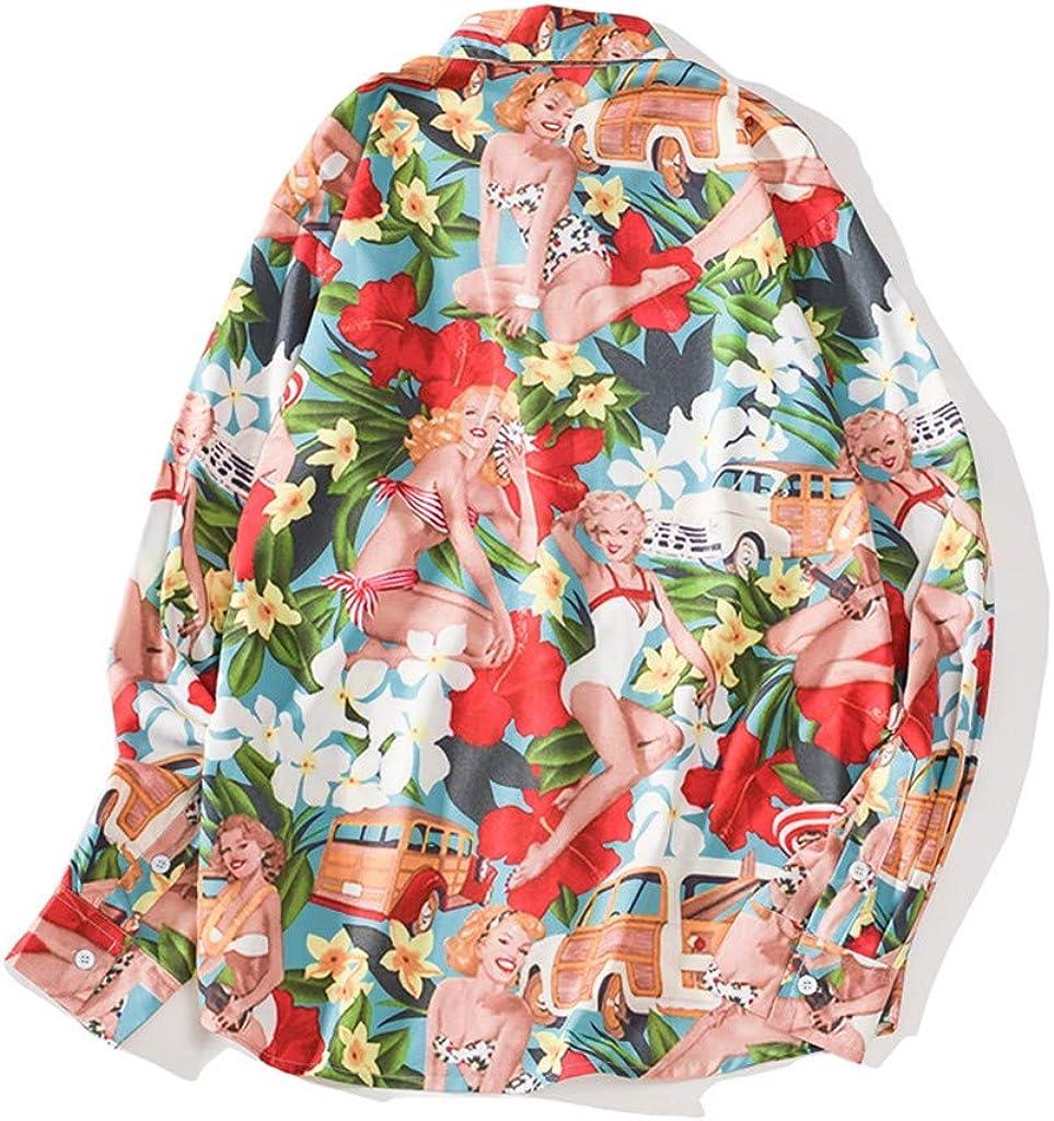 LinqiudD Trend Men Autumn Shirts Casual Printing Beach Shirts Long-Sleeve Top Blouse