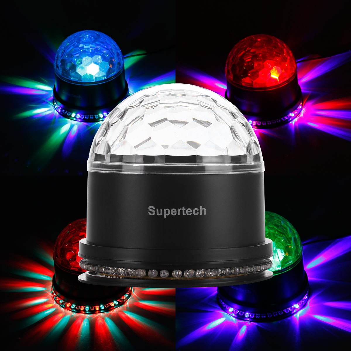Supertech  Color Changes  Sound Activated Mini Rotating  Stage Lights