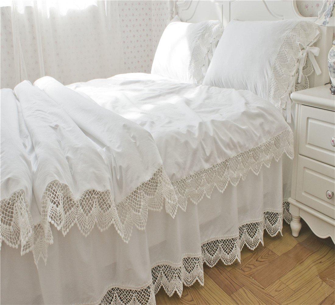 Lotus Karen 100%Cotton Hollow Embroidery Lace Ruffles Korean Bedding Sets Solid White 4PC Girls Duvet Cover Set Wedding Bed,1Duvet Cover,1Bedskirt,2Pillowcases King Queen Full Twin Size by Lotus Karen
