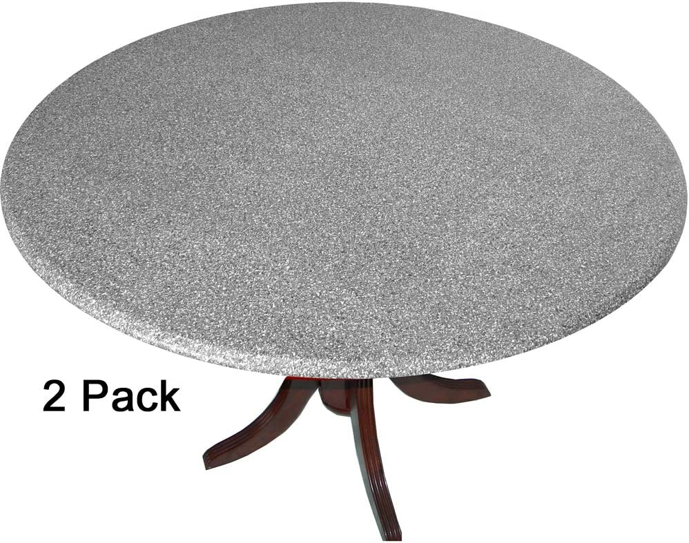 2 Pack of 2 Go Granite Fitted Tablecovers Table Covers, Tablecloths with The Look of Polished Granite Gray. Made in America
