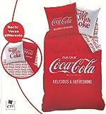 Parure de lit Housse de couette double REVERSIBLE 140 x 200 cm • COCACOLA DELICIOUS + Taie d'oreiller • Coca Cola Coke Duvet Cover
