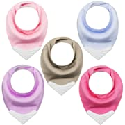 Giftty Teething Bibs Baby Bandana Drool Bib Sets with BPA-Free Silicone Teether, with Adjustable Snap Suit for Baby Girls 3~36 Months (Pure Color)
