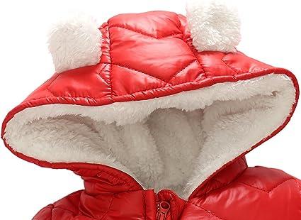 Ding-dong B/éb/é Gar/çon Fille Hiver Matelass/ée /à Capuche Combinaisons de Neige Snowsuit avec Gants