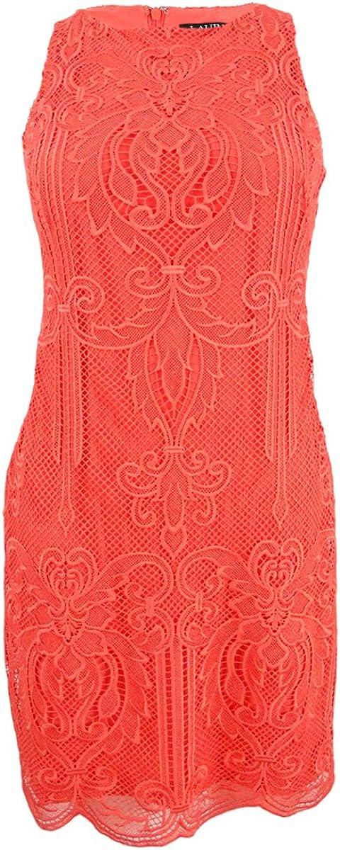 12P, Orange Poppy Lauren by Ralph Lauren Womens Lace Sleeveless Sheath Dress