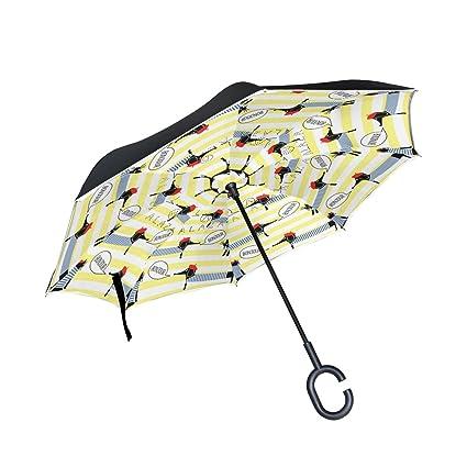 COOSUN Paraguas inverso de Doble Capa para Perros y Gatos con Diseño de Rayas, para