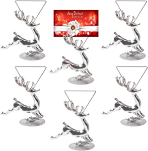Halatool 6 Pack Novelty Christmas Photo Holder- Silver Deer Photo Holder Card with Metal Base for Christmas Party Wedding Home Bar Decoration or Table Number Name Sign
