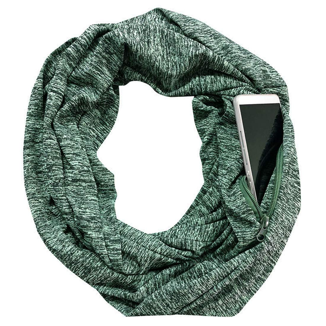 Women's Infinity Scarf with Pocket Fashion Scarves Lightweight Travel Scarf (Black)