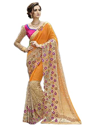 38589e6351 Shoppingover Indian Ethnic Stone Work embroidered Party wear Saree with  Blouse-Orange Color