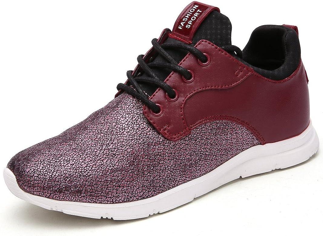 MaylenHughes Zapatillas Outlet para Mujer en Color Rojo y Plateado Calzado Cotidiano con Tejido Brillante para Correr y Pasear: Amazon.es: Zapatos y complementos