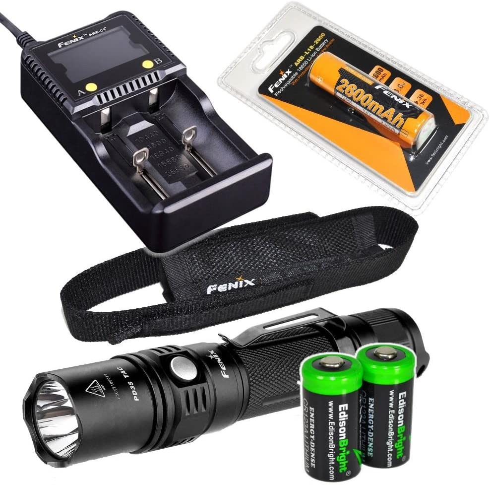 EdisonBright Fenix PD35 TAC 1000 Lumen CREE LED Tactical Flashlight with Genuine Fenix ARB-L2 Battery, Fenix are-C1 Plus Battery Charger and Two CR123A Lithium Batteries Bundle