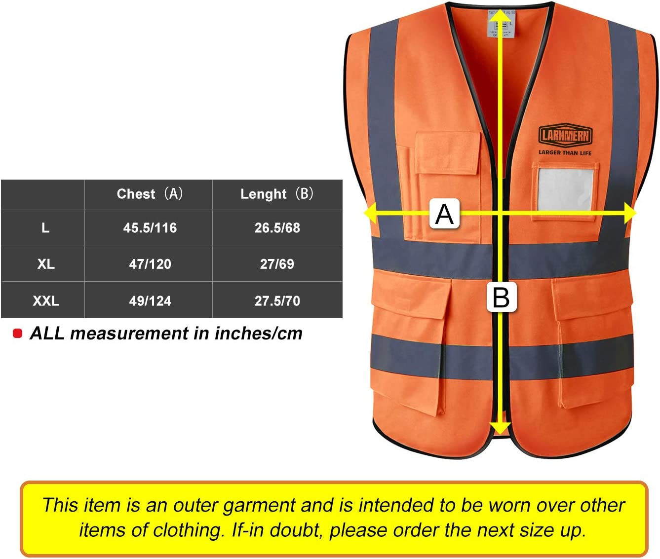 Mesh Orange,3X-Large LARNMERN Safety Vest ,Safety Night Overalls With Reflective Strips