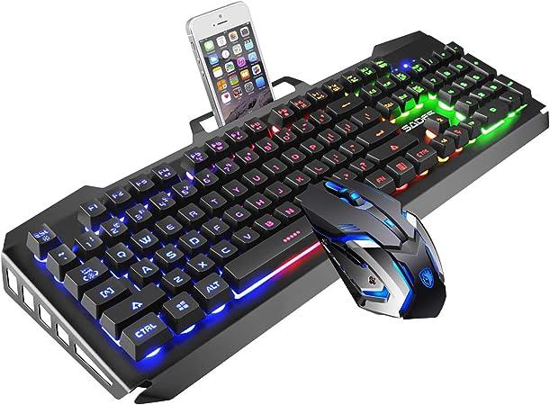 Juego de Teclado y ratón SADES con Cable de Teclado, Luces Coloridas y ratón con 4 dpi Ajustables para Juegos, para PC/portátil/Win7/Win8/Win10