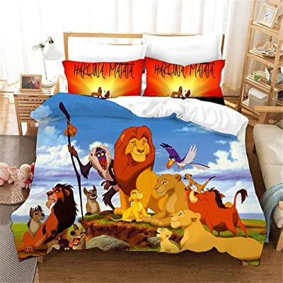 FAIRY KAARI The Lion King Duvet Cover Cartoon Animation Bedding Set 100% Polyester Teenagers Adult Bed Set,3pcs 1 Duvet Cover 2 Pillowcase Twin Full Queen King Size: Home & Kitchen