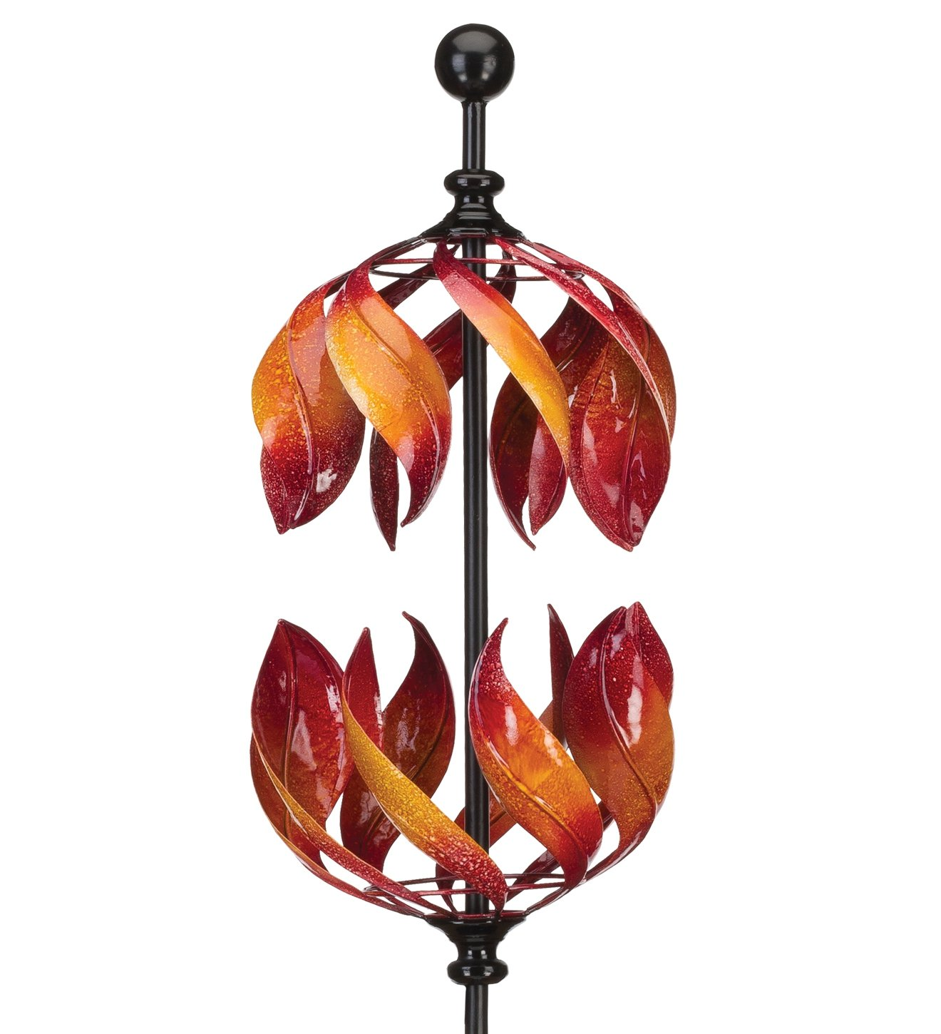 Regal Art & Gift Vertical Kinetic Stake 11.5 Inches X 11.5 Inches X 65.75 Inches Metal - Double Flame