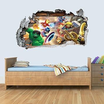 GNG 3D Wandaufkleber U201eMarvelu201c Für Kinder, Umrandung Im Design Einer  Zerstörten Wand