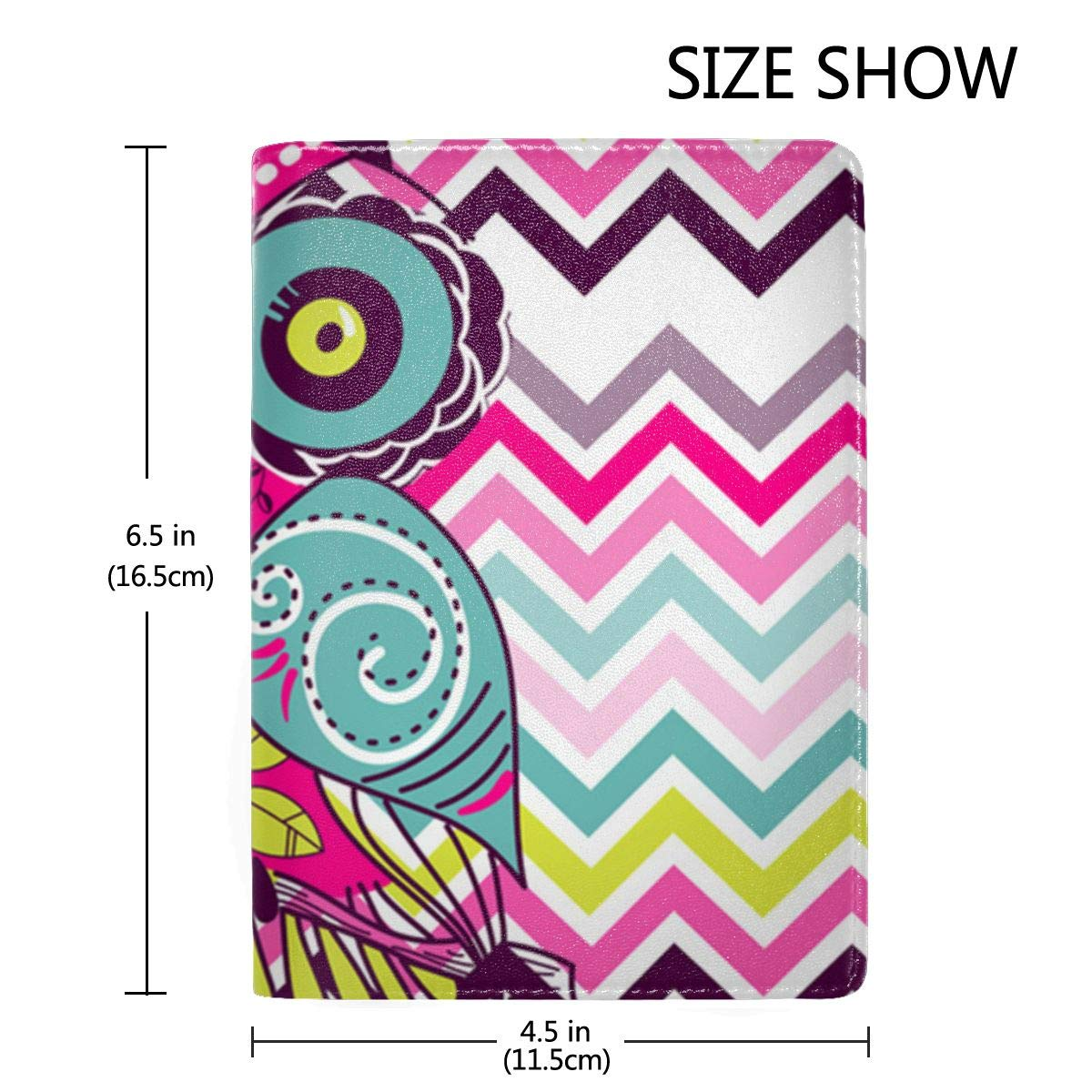Chevron Retro Groovy Owl Fashion Leather Passport Holder Cover Case Travel Wallet 6.5 In