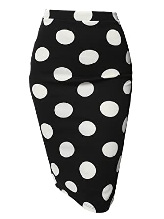 fdd2f76b5 Fitted Stretch Printed High Waist Midi Pencil Skirt Black White Polka 2  Size S