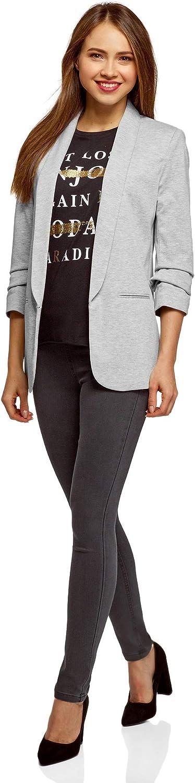 UK 12 EU 42 oodji Ultra Womens 3//4 Sleeve Jersey Blazer Grey L