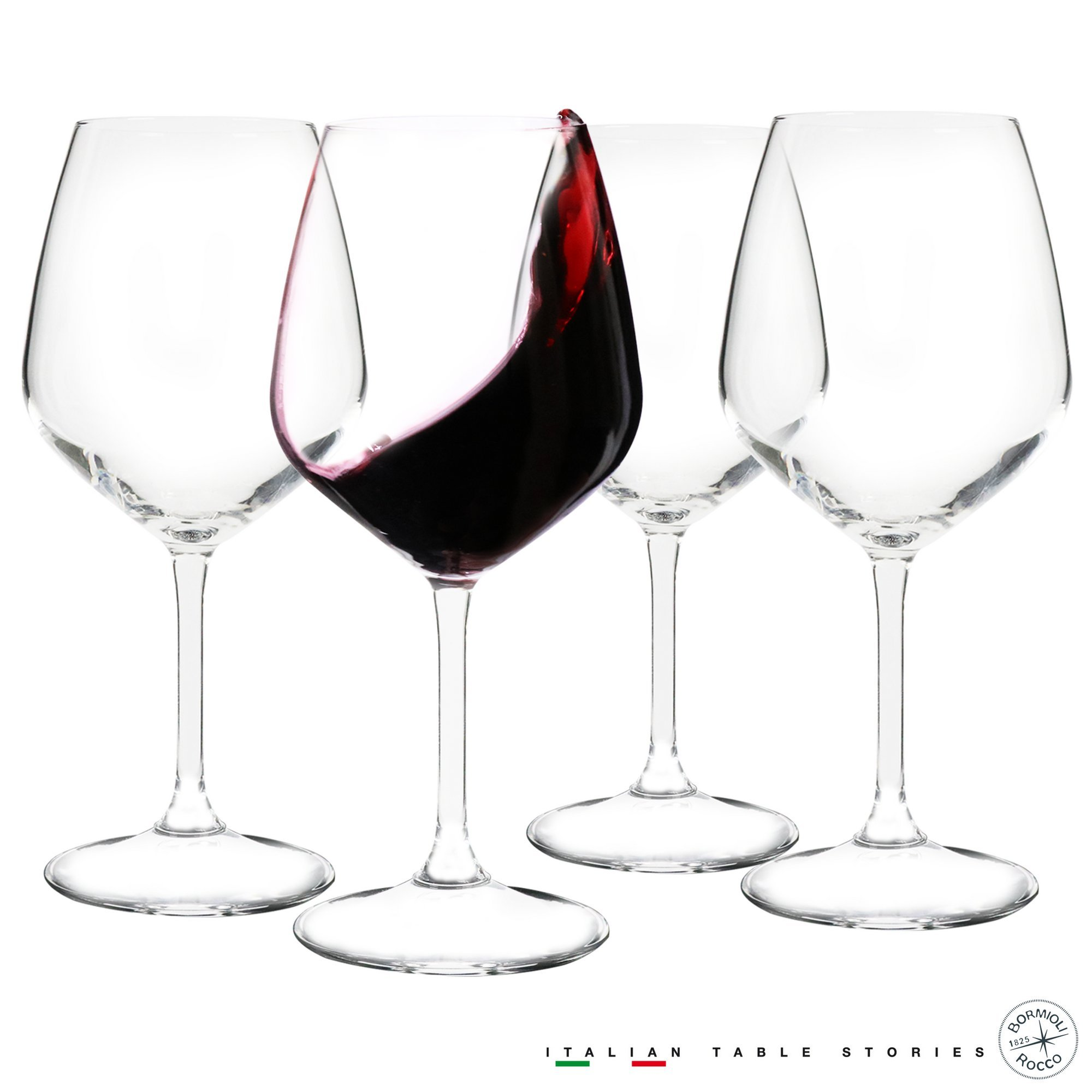 Bormioli Rocco 18oz Red Wine Glasses (Set Of 4): Crystal Clear Star Glass, Laser Cut Rim For Wine Tasting, Lead-Free Cups, Elegant Party Drinking Glassware, Dishwasher Safe, Restaurant Quality by Bormioli Rocco (Image #5)