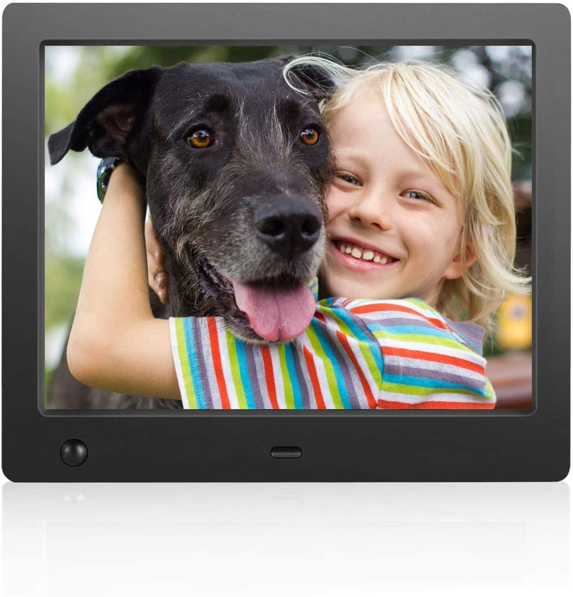 Digital Photo Frame 8 inch – Electronic Photo Frame with Slideshow HD IPS Display Picture Frame with Motion Sensor Video Background Music Calendar Clock Gifts for Keeping Memory by FLYAMAPIRIT