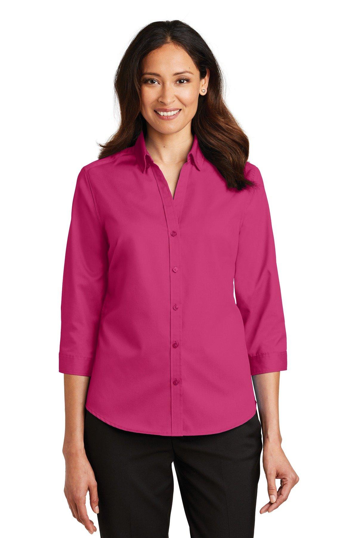 Port Authority Ladies 3/4-Sleeve SuperPro Twill Shirt 4XL Pink Azalea