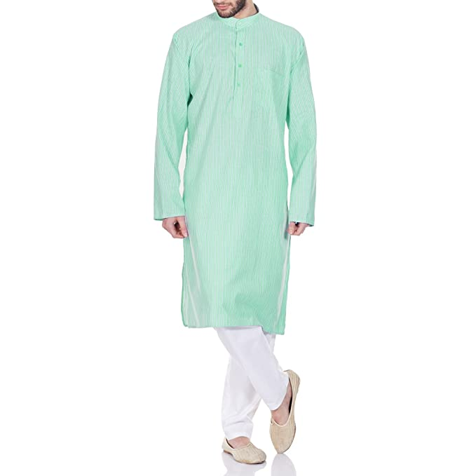 Comfortable Kurta Pajama Set for Men,Indian Clothing 46 Inches Green Men's Kurta Sets at amazon