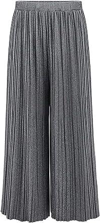 Mujer Pantalones Anchos Elastische Taille Anchas Plisado Pantalones Falda Mode De Marca Color Solido Pantalones Palazzo Invierno Otono Pantalones De Tiempo Libre Amazon Es Ropa Y Accesorios