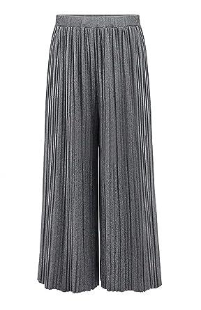 Damen Breites Bein Hosen Elastische Taille Loose Plissee Hosenrock Elegante  Fashion Unifarben Mädchen Herbst Winter Palazzo Hosen Freizeithose  Bekleidung ... 3f5b35f2f2