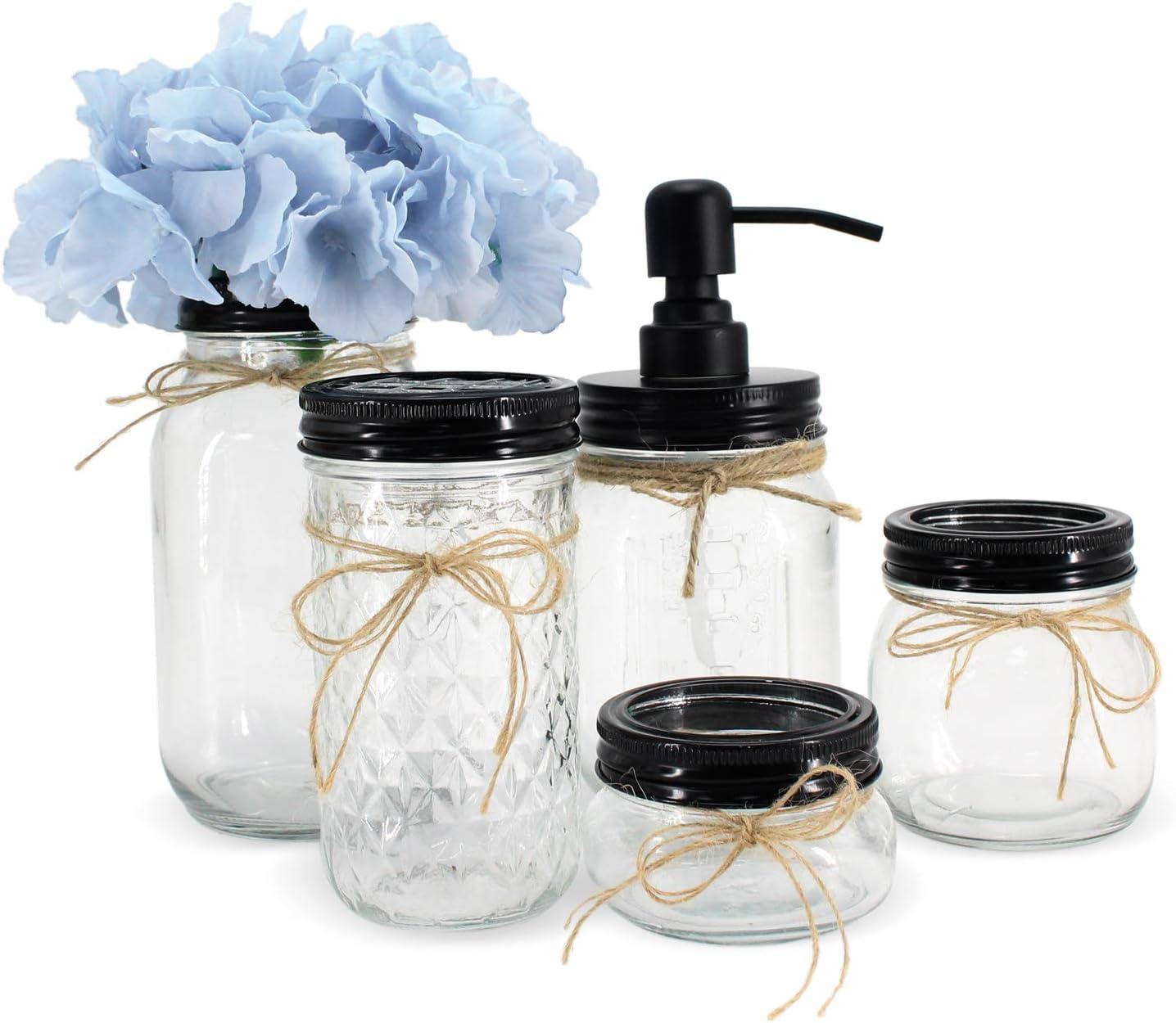 Unistyle Mason Jar Bathroom Accessories Set, MasonJars Bathroom Organizer, Countertop Vanity Organizer,Include Liquid Soap Dispenser, Cotton Swab,Tissue,Toothbrush Holder, Countertop Decor 5 Piece