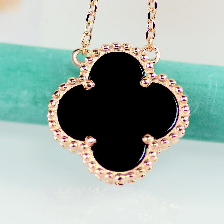 6da834205bfaf Amazon.com: Black Onyx Lucky Clover Necklace, Rose Gold Plated 925 ...