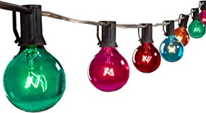 25 Feet G40 Globe Patio String Lights with 25 Transparent Multicolor G40 Bulbs, UL Listed Hanging Indoor/Outdoor Christmas String Lights for Backyard Bistro Market Garden Party Decor, Black Wire
