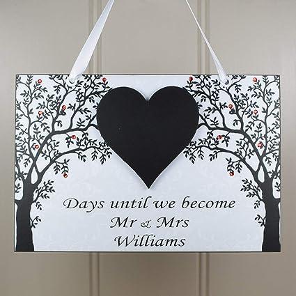 Pizarra personalizada «Mr y Mrs» en forma de corazón, hecha ...