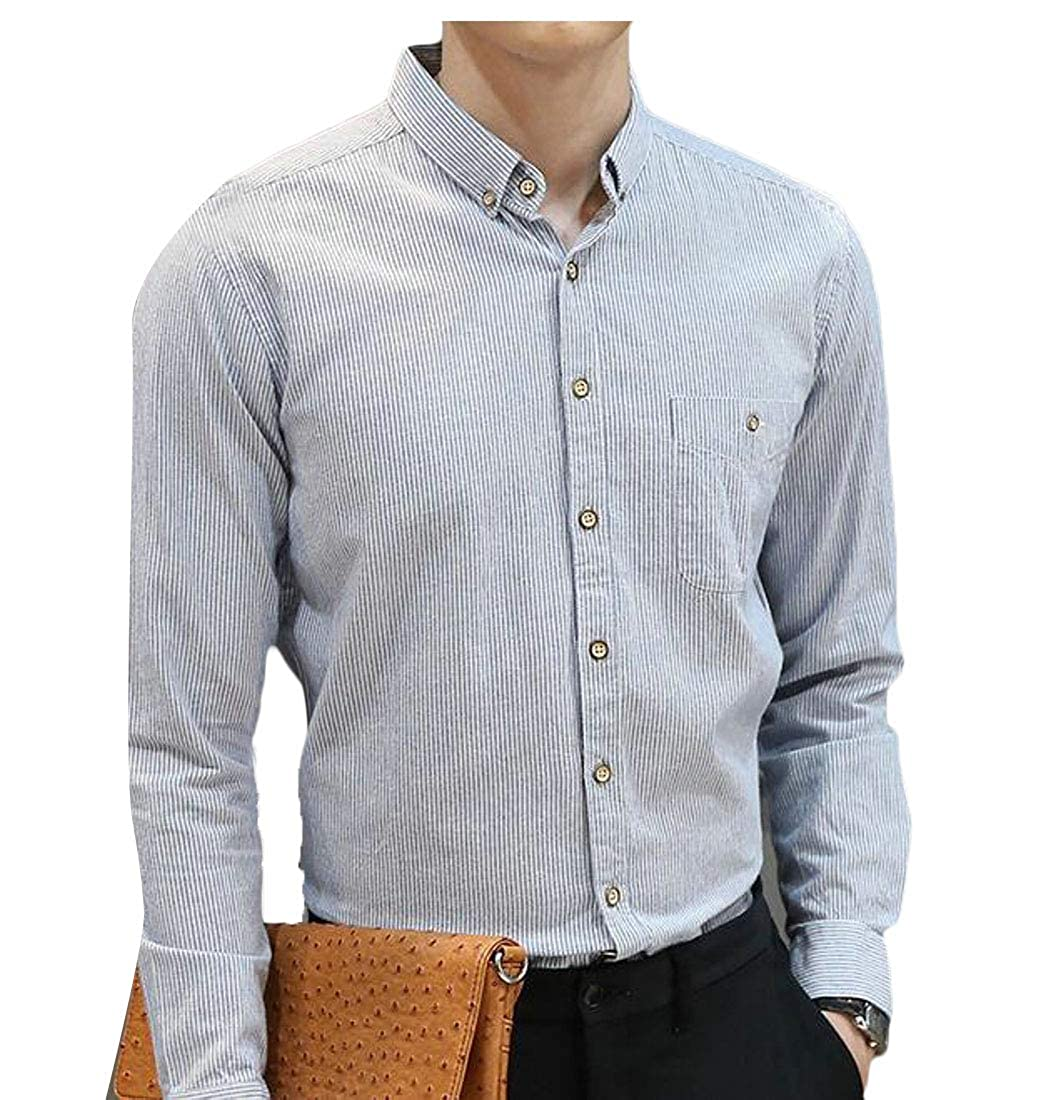 Etecredpow Mens Striped Long Sleeve Slim Fit Casual Button Down Shirts