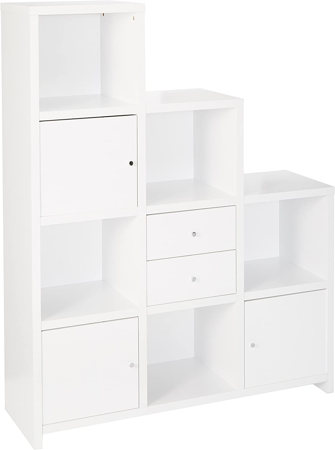 Coaster Home Furnishings Asymmetrical Bookcase with Cube Storage Compartments White