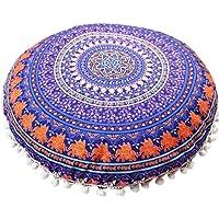 Luweki Indian Mandala Pillows Round Bohemian Home Cushion Pillows Cover Case Cushions