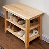 """ACRO Storage Bench Wooden Shoe Bench Simple Style Wood Entryway Bench Shoe Rack (Natural,23.6"""")"""