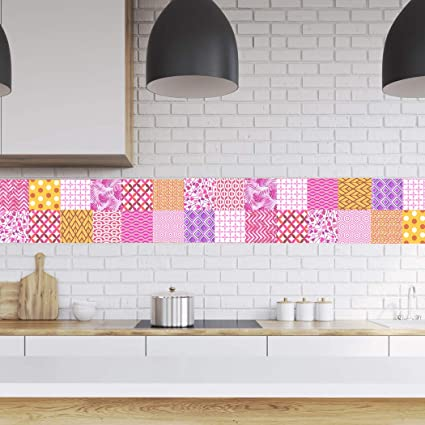 RoyalWallSkins Tile Decals 4x4 Inch - Set of 16 - DIY Self Adhesive Peel and Stick Tile Stickers for Backsplash Bathroom Kitchen Home Decor (Murcia ...