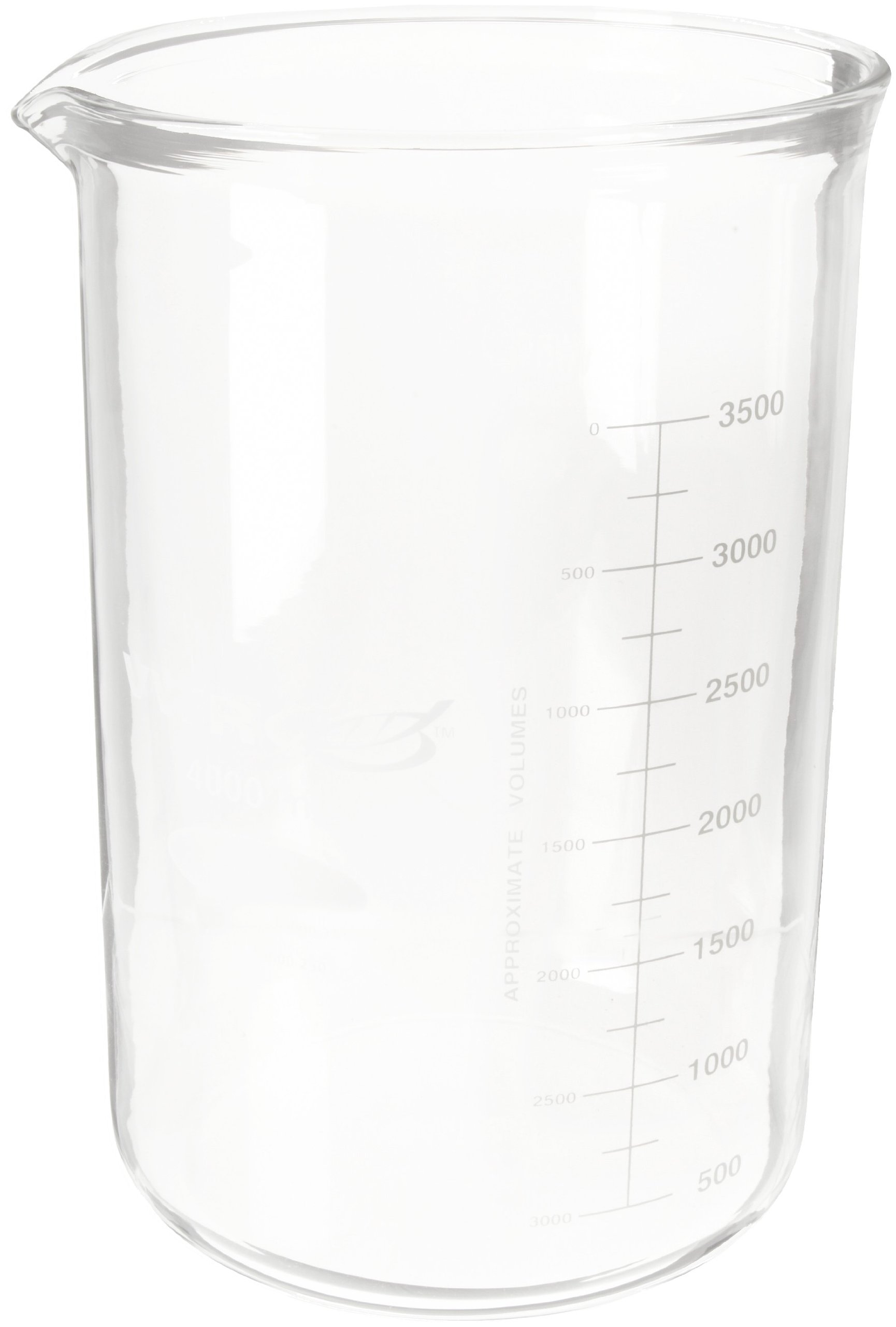 Kimble 14005-4000 Glass Heavy-Duty Low Form Beaker with Double Capacity Scale, 500-3500mL Graduation Interval, 4000mL Capacity, 500mL Graduation, White (Pack of 1)