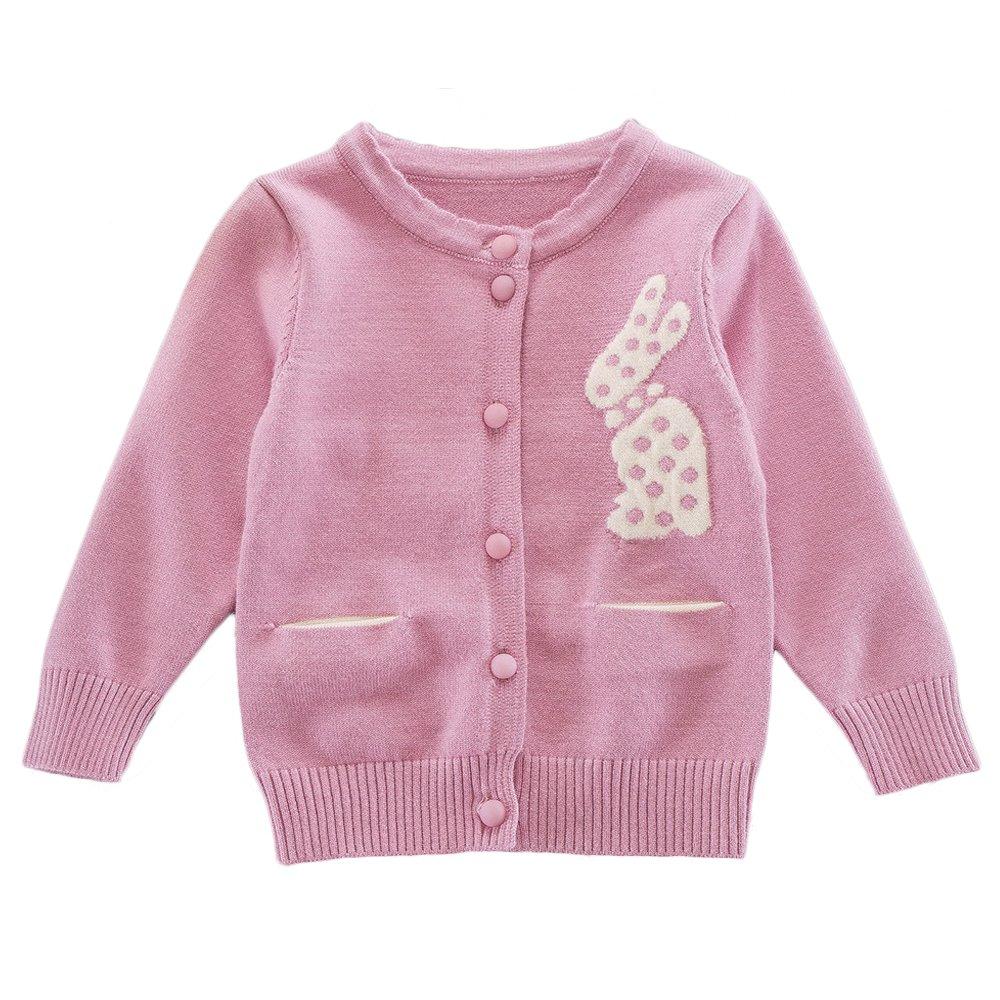 Moonnut Little Girls' Cute Rabbit Knit Cardigan Sweater,18-24M,Rose Pink