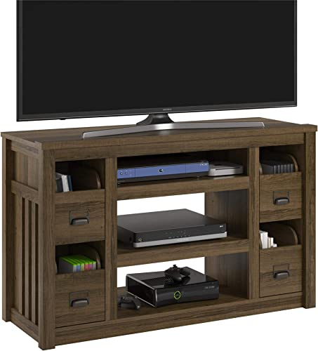 Ameriwood Home Adams TV Stand for TVs up to 55 , Brown Oak