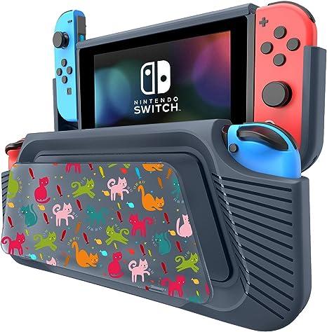 COODIO Funda Para Nintendo Switch, Funda Grip Deluxe Switch, Carcasa con Soporte / Correa de mano / DIY panel de pintura para Nintendo Switch, Azul Oscuro: Amazon.es: Videojuegos