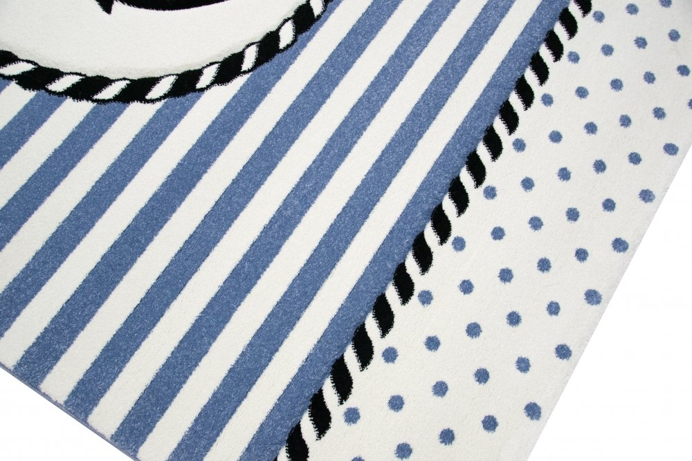 Carpetia Teppich Kinderzimmer Babyzimmer Jungen Anker Maritim Blau