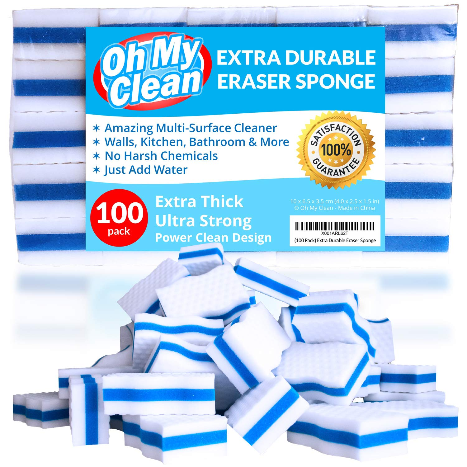 (100 Pack) Extra Durable Eraser Sponge - Extra Thick, Long Lasting, Premium Melamine Sponges in Bulk - Multi-Purpose Power Scrubber - Bathroom, Kitchen, Floor, Bathtub, Toilet, Baseboard, Wall Cleaner by Oh My Clean