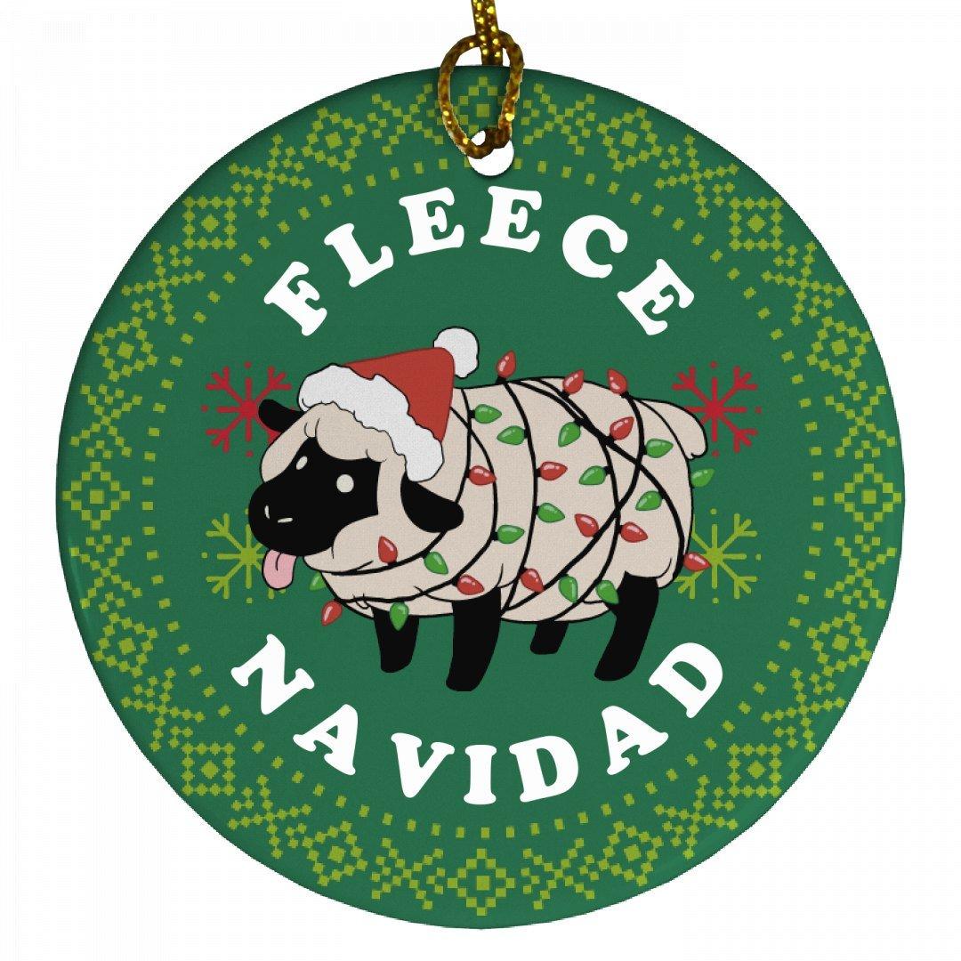 Fleece Navidad Xmas Ornament: Porcelain Circle Ornament