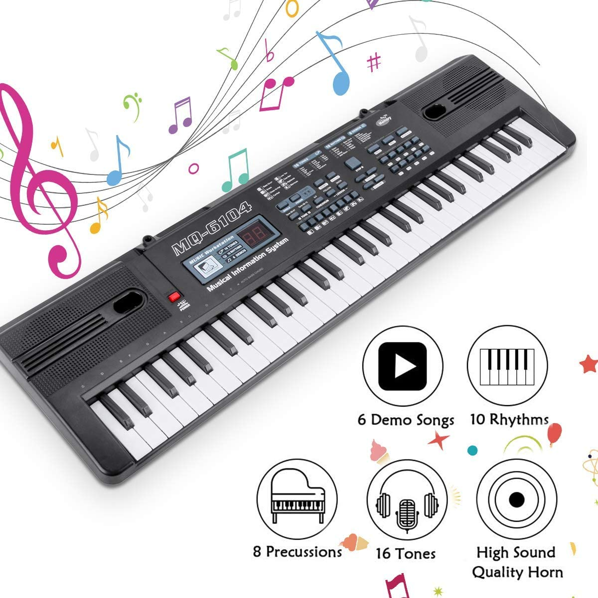 RenFox Piano Keyboard 61-Key Portable Keyboard Piano for Kids with Microphone&USB Cable Toy for Kids Boys Girls