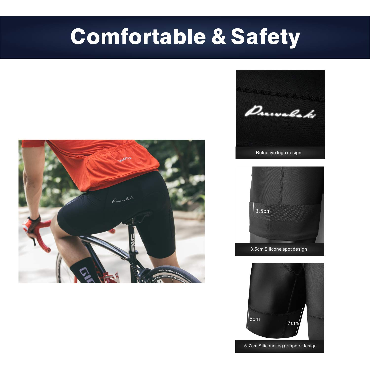 Bicycle Biking Tights Bike Half Pants Przewalski Mens 3D Padded Cycling Shorts Quick-Dry and Better Fit