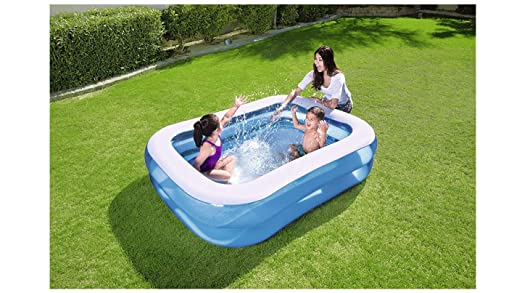 Cute Inflatables Piscina Hinchable Rectangular Familiar Premium Deluxe | Diversion Garantizada Esta Temporada De Verano! | 2.01mx 1.50mx 51cm |