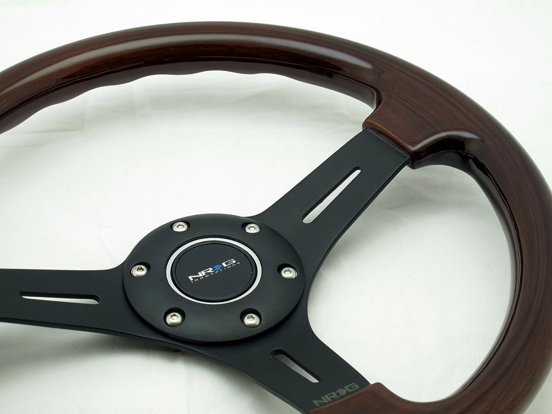 NRG Steering Wheel Classic Wood Grain with Black Spokes 330mm Part # ST-015-1BK