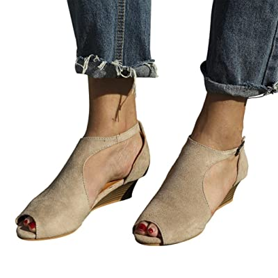 Calzado Chancletas Tacones Zapatos de Mujer Sandalias con Cuña de Plataforma Correa para el Tobillo Peep Toe Zapatos de Tacón Alto ❤️ Manadlian